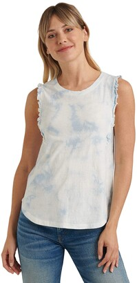 Lucky Brand Women's Sleeveless Crew Neck Ruffle Tank Top
