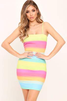 I SAW IT FIRST Multi Rainbow Bodycon Dress