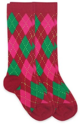 Jefferies Socks Girls Socks, 2 Pack Argyle Pattern Dress Knee High Size Toddler and XS - M