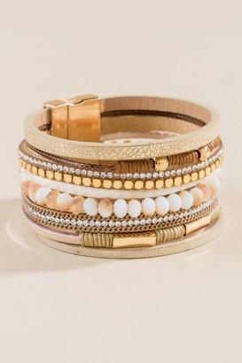 francesca's Devi Beaded Leather Wrap Bracelet - Champagne