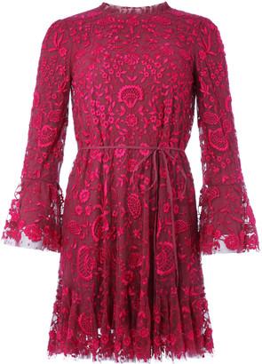 Needle & Thread Demetria Floral-Embroidered Tulle Mini Dress