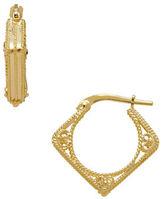 Lord & Taylor 14K Italian Gold Diamond Shaped Hoop Earrings