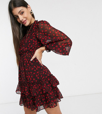 Topshop Tall mini dress with ruffles in red
