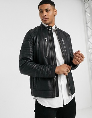 BOSS Jordon biker leather jacket in black