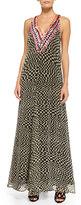 Mara Hoffman Deep-V Printed Beaded Georgette Gown