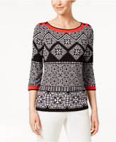 Alfred Dunner Petite Tile-Print Tunic