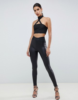 Asos Design DESIGN leather look leggings with elastic slim waist-Black