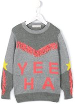 Stella McCartney 'Yee Ha' knitted fringed jumper - kids - Cotton/Cashmere - 4 yrs