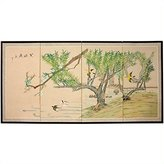 Oriental Furniture Asian Decor and Gifts, 36 by 72-Inch Birds in Garden Japanese Style Brush Art Oriental Wall Screen Painting
