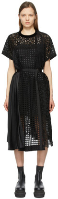 Sacai Black Star Embroidered T-Shirt Dress