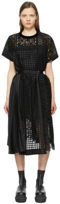 Sacai Black Star Embroidered T-Shirt Dress