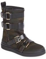 Balmain Buckle Camouflage Sneaker Boots