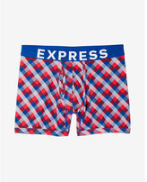 Express diagonal check boxer brief