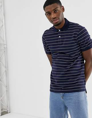 J.Crew Mercantile slim fit striped polo shirt in navy/white