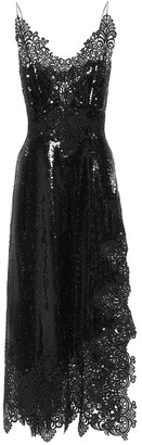 Paco Rabanne Lace and sequinned midi dress