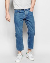 Asos Straight Jeans In Cropped Length Light Blue