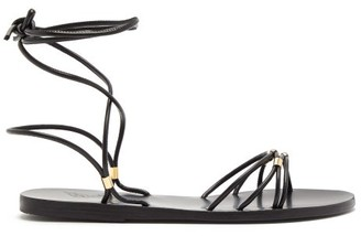 Ancient Greek Sandals Persida Wraparound Leather Sandals - Black Gold