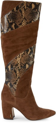 Sam Edelman Hai Snake-Print Leather & Suede Tall Boots