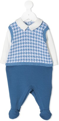 Le Bebé Enfant Houndstooth Long-Sleeve Babygrow
