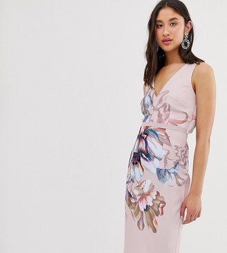 Little Mistress Tall plunge front pencil dress in over scale floral print-Multi