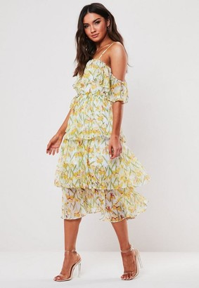 Missguided White Floral Cami Tiered Midi Dress
