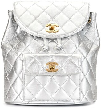 Chanel Pre Owned 1992 Diamond Quilted Drawstring Backpack