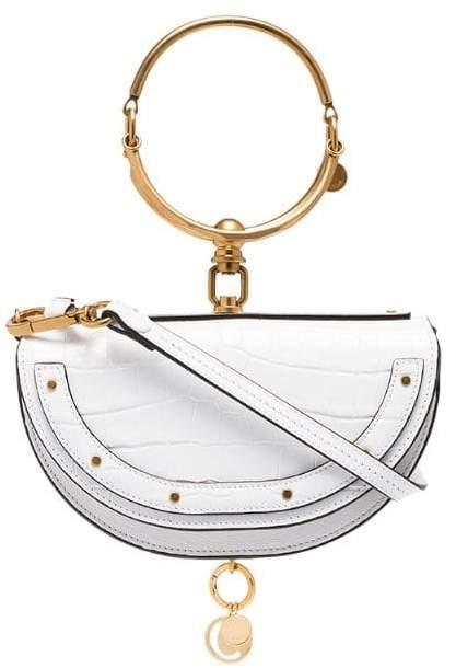 Chloé white Nile mini leather bracelet bag