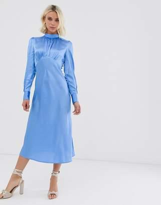 Asos Design DESIGN high neck midi satin tea dress in green