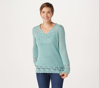 Laurie Felt Crochet V-Neck Sweater with Tank