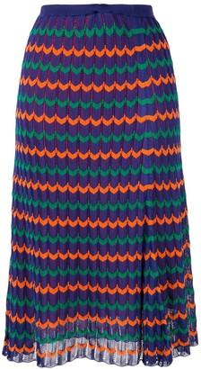 Kolor Pleated Geometric Midi Skirt