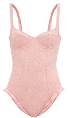 Dodo Bar Or Devone Floral-jacquard Ruffle-edged Swimsuit - Pink