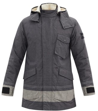 Stone Island Chine-logo Reflective-ripstop Hooded Jacket - Black