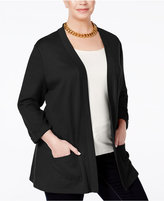 Karen Scott Plus Size Tab-Sleeve Cardigan, Only at Macy's