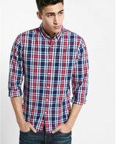 Express soft wash plaid shirt