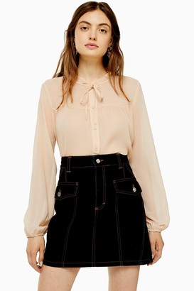 Topshop Womens Cream Pleated Neck Blouse - Cream