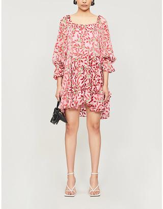 Alice + Olivia Floral-print crepe and silk mini dress