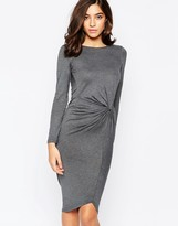 Warehouse Long Sleeve Knot Detail Dress