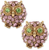 Betsey Johnson Gold-Tone Pink Pavé Owl Stud Earrings