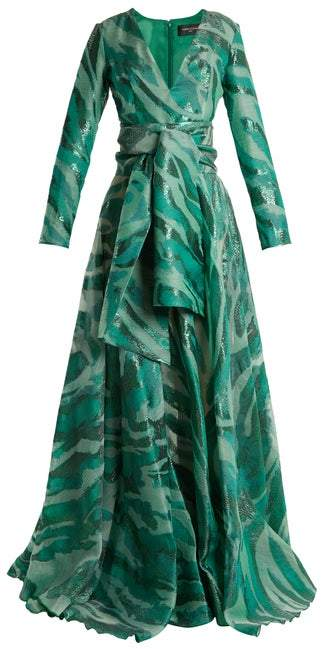 Azzaro Acid Long Sleeved Jacquard Gown - Womens - Green Multi