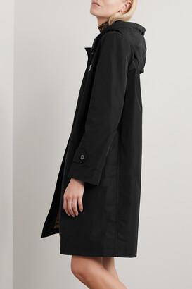 Burberry Hooded Appliqued Shell Raincoat - Black