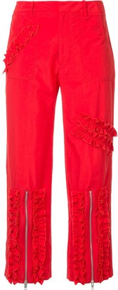 Molly Goddard Ruched Stripe Cropped Trousers