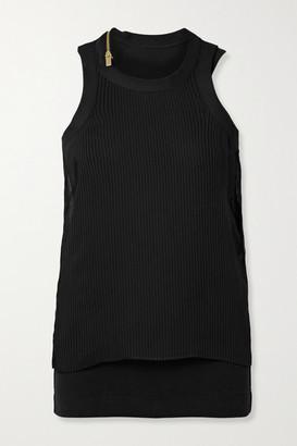 Sacai Layered Plisse-chiffon And Ribbed Cotton-blend Jersey Tank - Black
