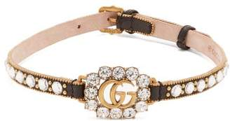 Gucci Gg Crystal-embellished Leather Choker - Womens - Black