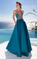 Tarik Ediz Strapless Jeweled Gown 92655