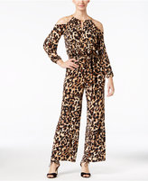 Thalia Sodi Leopard-Print Cold-Shoulder Jumpsuit, Only at Macy's