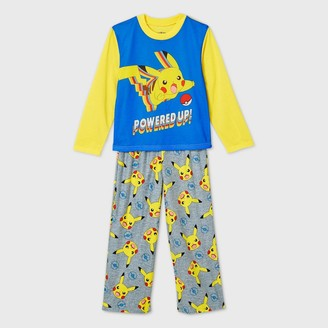 Pokemon Boys' Pikachu 'Powered Up!' 2pc Pajama Set - Yellow/Gray