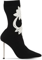 Alexander McQueen 105mm Embroidered Rib Knit Boots