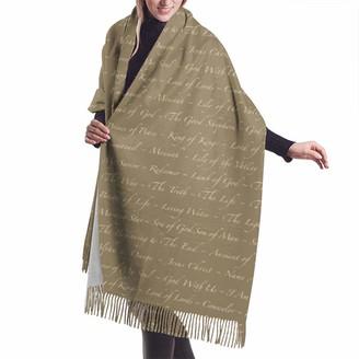 Rcivdkem Names Of Jesus' On Khaki Shawl Wrap Winter Warm Scarf Cape Large Soft Cozy Cashmere Scarf Wrap Womans Warm Shawl Stole