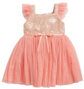 Infant Girl's Popatu Sequin Bodice Tulle Dress