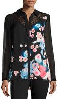 Elie Tahari Mason Lace-Trim Button-Front Floral Silk Blouse, Multi